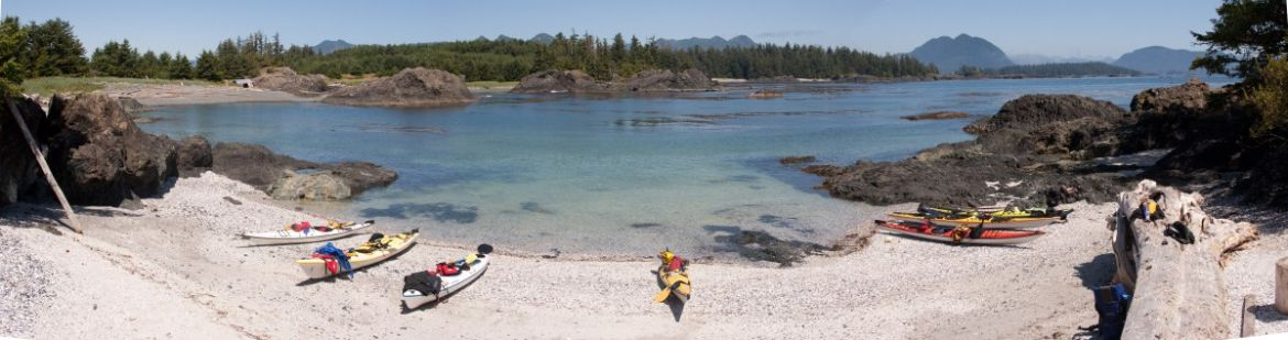 panorama shell beach from base camp kayaking on Spring Island, Kyuquot area