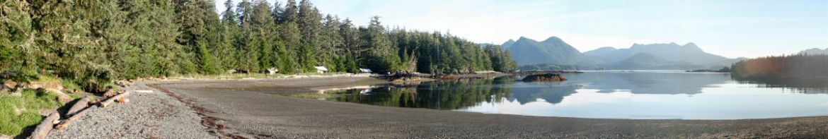 Wilderness Retreat Base Camp on Spring Island, West Coast Vancouver Island Panorama at Kyuquot