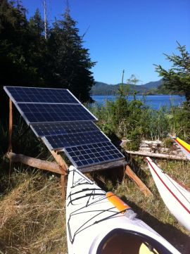 solar panels at our kayak camp provide about 85% of our energy needs