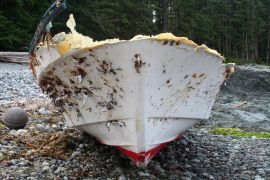 wreck of Japanese fishing boat bow