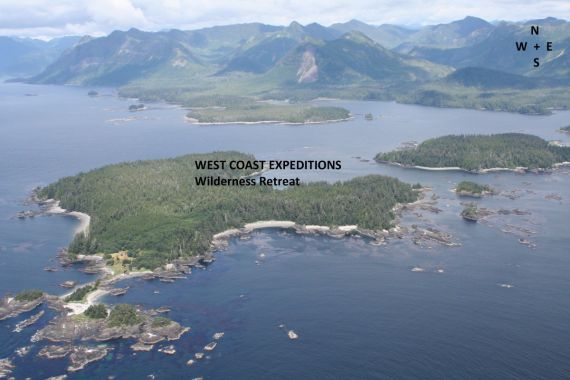 West Coast Expeditions location on aerial photo of Spring Island