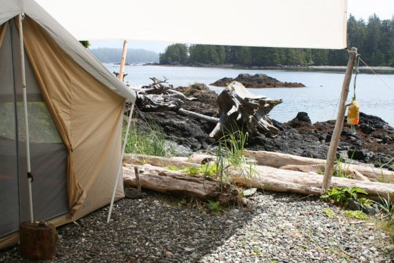waterfront tents and view with West Coast Expeditions
