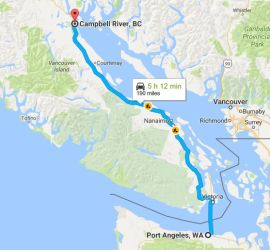 Port Angeles to Campbell River, via Coho Ferry - Black Ball Ferry Line