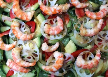 local prawns with salad