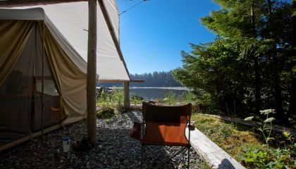waterside and well sheltered canvas tent sites