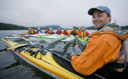 West Coast Expeditions owner Dave Pinel with a women's group kayaking