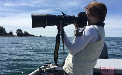 Isabelle Groc in action photographing sea otter raft