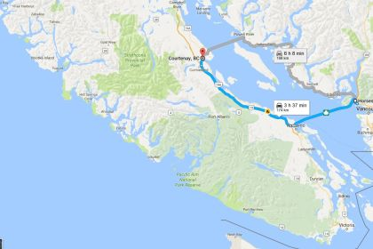 Vacouver to Courtenay, via Horsheshoe Bay and Departure Bay BC Ferry Terminals