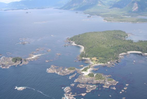 aerial view of Spring Island and Checleset Bay
