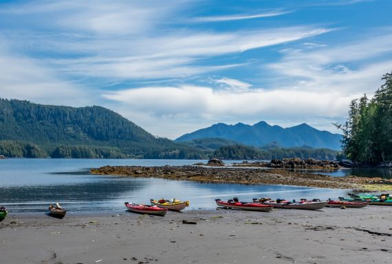 Beached kayaks in Mission Group Island, Kyuquot Sound