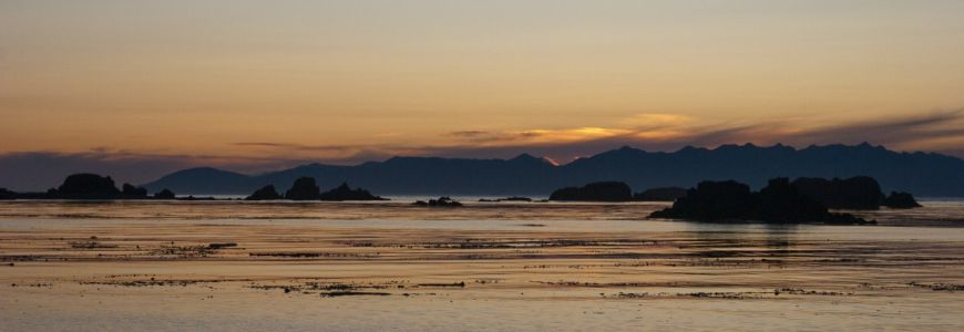 Sunset over the costal shores of Vancouver Island