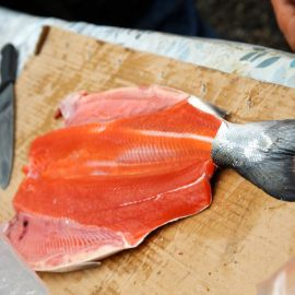 butterflied salmon being prepared for the fire